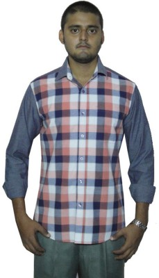 The GreeK Men's Checkered, Solid Casual Grey Shirt