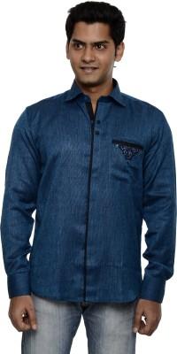 Ach Fashion Men's Self Design Casual Blue Shirt