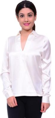 Lamora Women,s Solid Casual White Shirt