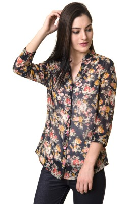 Rute Womens Floral Print Casual Blue Shirt