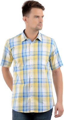 Cairon Men's Checkered Casual Yellow Shirt