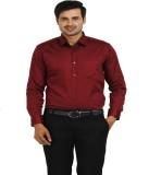 TT Men's Printed Formal Maroon Shirt