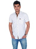 Carbone Men's Printed Casual White Shirt