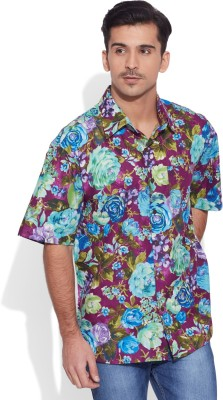 Very Me Men's Floral Print Casual Purple Shirt