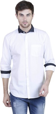 HASH LUXURY Men's Solid Party, Casual White Shirt