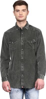 CODE 61 Men's Self Design Casual Dark Green Shirt