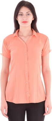 cutemad Women's Solid Formal Pink Shirt