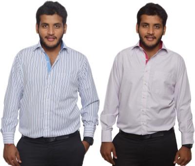 Maharaja Men's Striped, Checkered Formal Blue, White Shirt