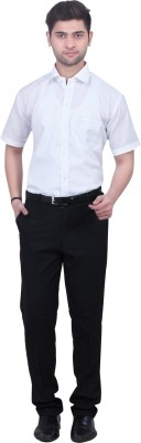 Trustedsnap Men's Solid Formal White Shirt