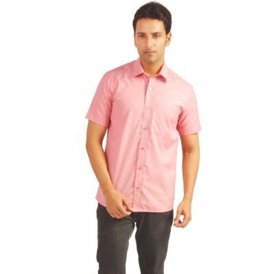 Sterling Men's Solid Formal Orange Shirt