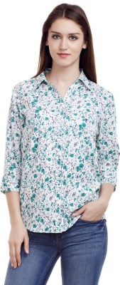MASK LIFESTYLE Women,s, Girl's Floral Print Casual White Shirt
