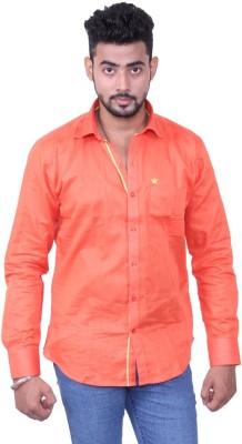 Austrich Men's Solid Casual Orange Shirt