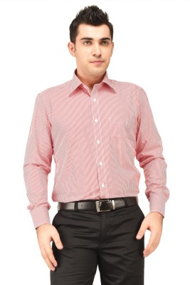 Hyphen Men's Striped Formal Red Shirt