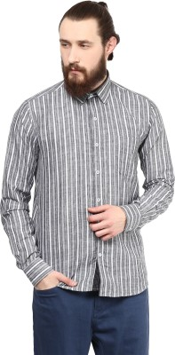 Cairon Men's Striped Casual Grey Shirt