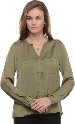 Moderno Women's Solid Party Green Shirt