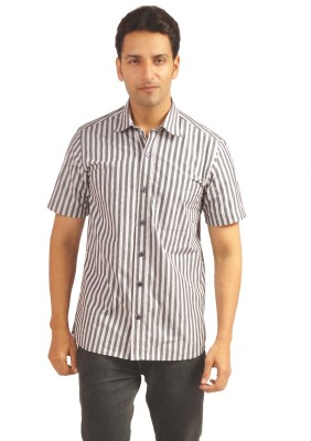 Sterling Men's Striped Formal Grey Shirt