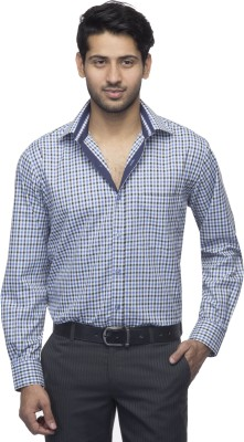 Menmark Men,s Checkered Formal White, Blue, Black Shirt
