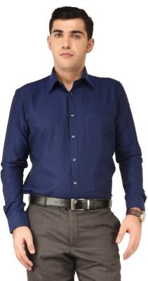 Hyphen Men's Checkered Formal Dark Blue Shirt