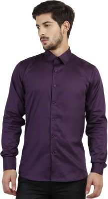 Marcello And Ferri Men's Solid Formal Purple Shirt