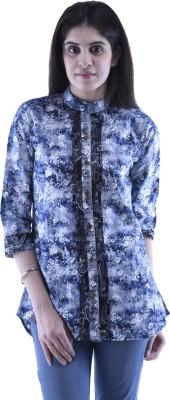 Aarr Women,s Printed Casual Blue Shirt