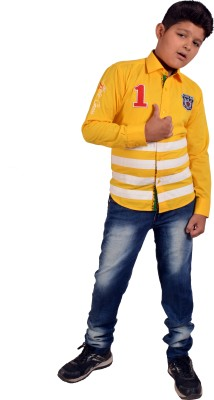 Chinar Boy's Solid Casual Yellow Shirt
