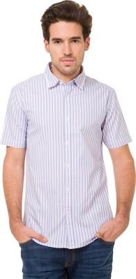 Mode Manor Men's Striped Casual White Shirt