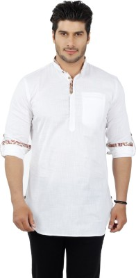 Get Taxed Men's Solid Casual, Festive, Formal, Party Linen White Shirt