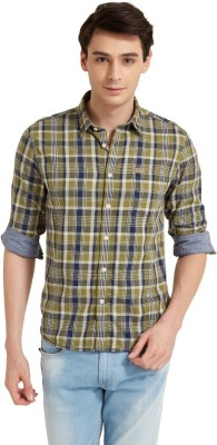 Flying Machine Men's Checkered Casual Light Green, Blue Shirt