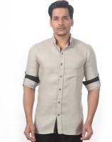 Granthh Formal Shirts (Men's) - GRANTHH Men's Solid Formal Linen Brown Shirt
