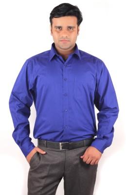 RIPARV Men's Solid Formal Blue Shirt