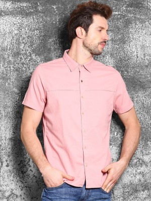 WROGN Men's Solid Casual Pink Shirt