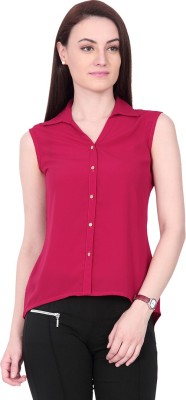 IDENTITI Women's Solid Casual Maroon Shirt