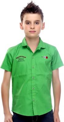 Mash Up Boy's Self Design Casual Green Shirt