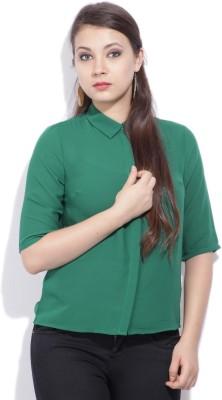 Van Heusen Womens Solid Casual Green Shirt