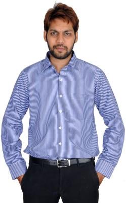 Green Apple Men's Striped Formal Blue Shirt