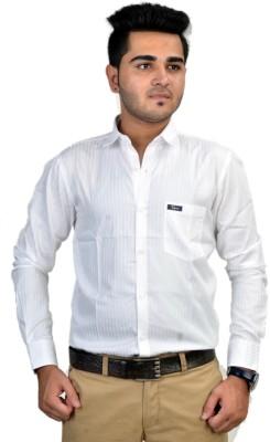 Revine Men's Striped Casual White Shirt