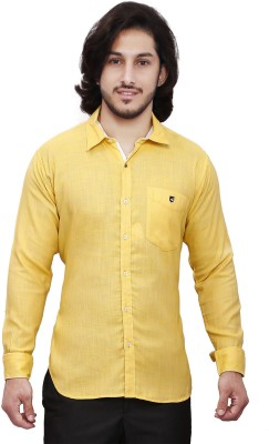 Dave Men's Solid Casual Yellow Shirt