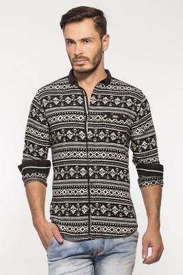 ROYALION Men's Printed Casual Black Shirt
