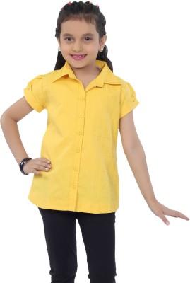 Catmini Girl's Checkered Casual Yellow Shirt