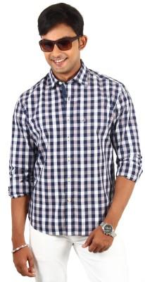 Barrier Reef Men's Checkered Casual Dark Blue, Silver Shirt