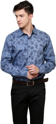 Azo Men's Printed Casual Blue Shirt