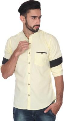 Ashford Brown Men's Solid Casual Yellow Shirt