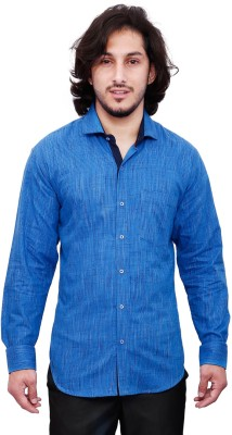 Dave Men's Solid Casual Blue Shirt