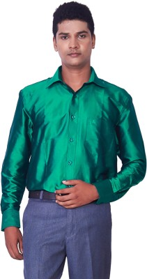 Mark Anderson Men's Solid Casual Green Shirt