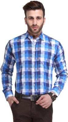 Ausy Men's Checkered Casual Blue Shirt