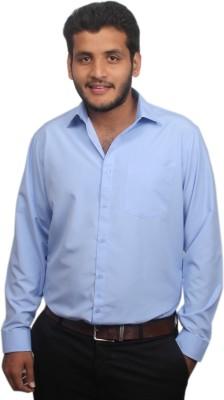 Maharaja Men's Solid Formal Blue Shirt