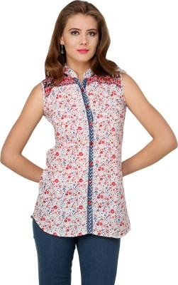Pankhuri For Women Women,s Floral Print Casual White, Red, Blue Shirt