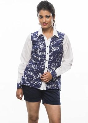 Moda Vastra Women's Printed Casual Blue, White Shirt