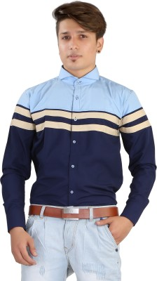 Saraul Men's Solid Casual Blue Shirt