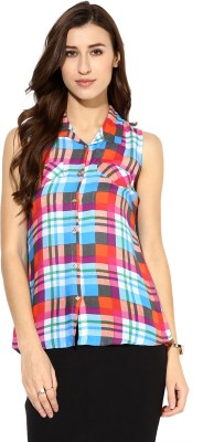 Raindrops Women's Checkered Casual Blue, Orange Shirt